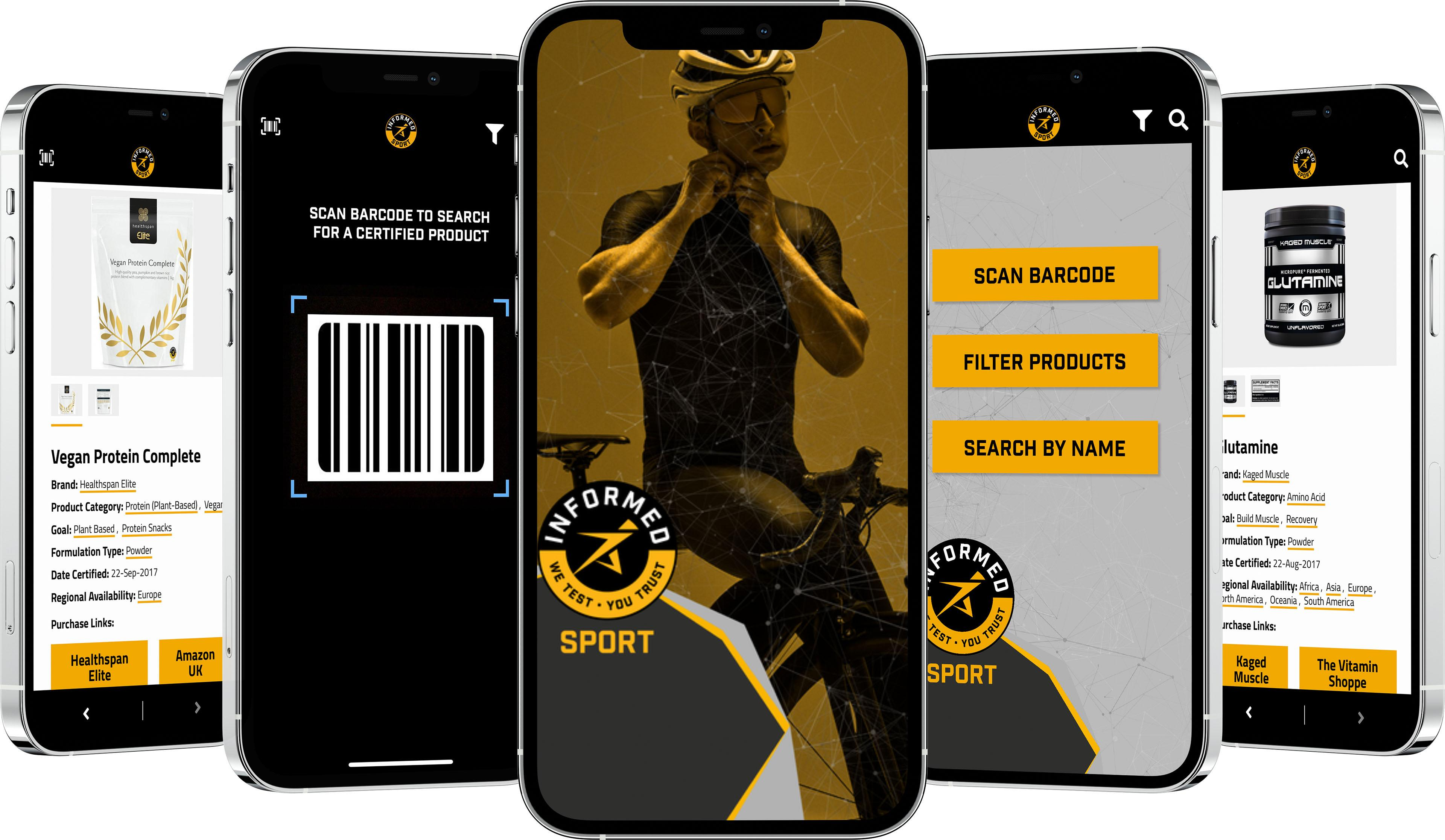Several phones with Informed Sport app